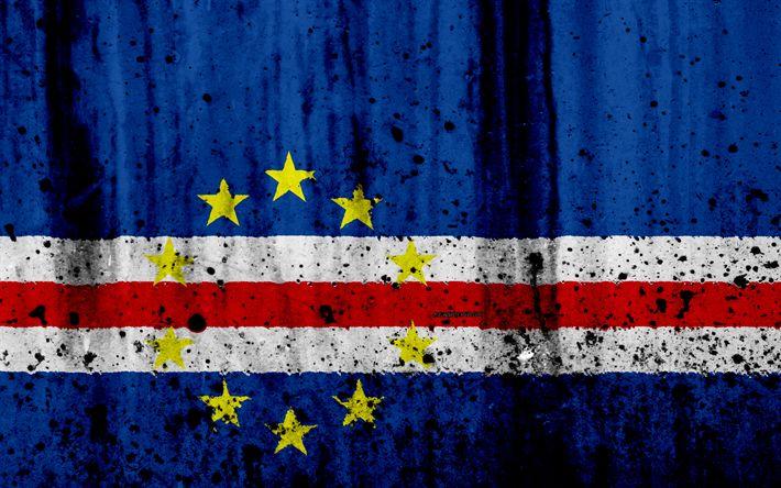 Download wallpapers Cape Verde flag, 4k, grunge, flag of Cape Verde, Africa, Cape Verde, national symbols, Cape Verde national flag