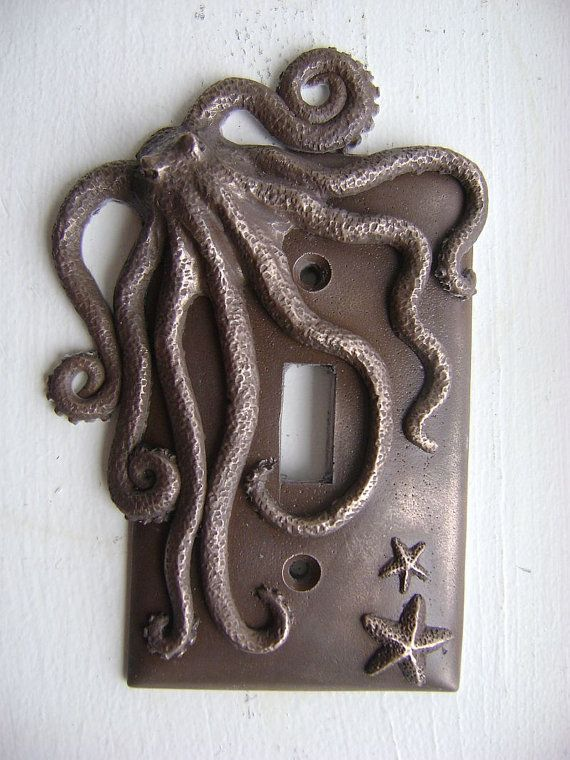 Cold Cast Bronze Octopus Single Toggle Light Switch Cover