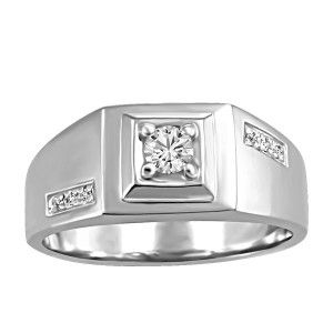 Mens 10KT White gold 0.21 ctw Glacier Ice Canadian diamond ring. RIN-MCA-0021