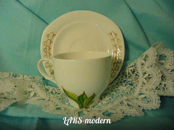 SPRING  Tenderness - Hand Painted Porcelain LARS-modern. (h-7.0 cm) - $40.0   Весенняя нежность - Авторская витражная роспись по фарфору от LARS-modern. (h-7,0 cm) - $40.0 / в наличии и под заказ.