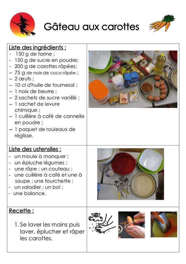 Site internet de l'école maternelle Danielle Casanova - Le gâteau aux carottes