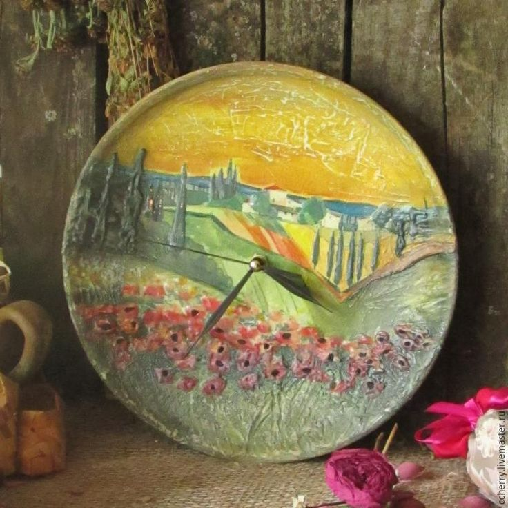 Создаем оригинальные часы на тарелке «Прованс в закате» - Ярмарка Мастеров - ручная работа, handmade