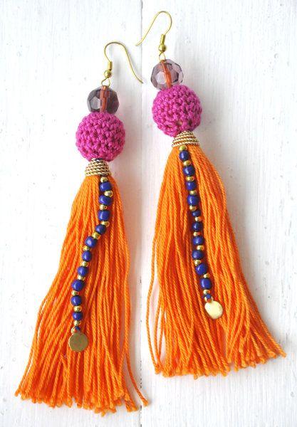 Honeybell #tassel earrings with #crochet beads