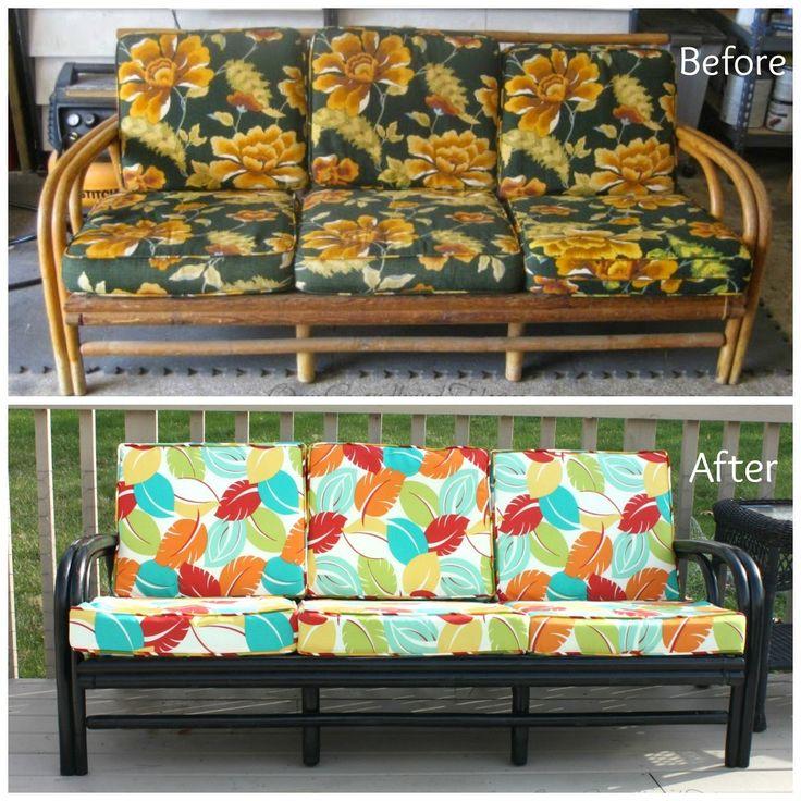 Hometalk | Thrift Store Rattan Sofa Makeover