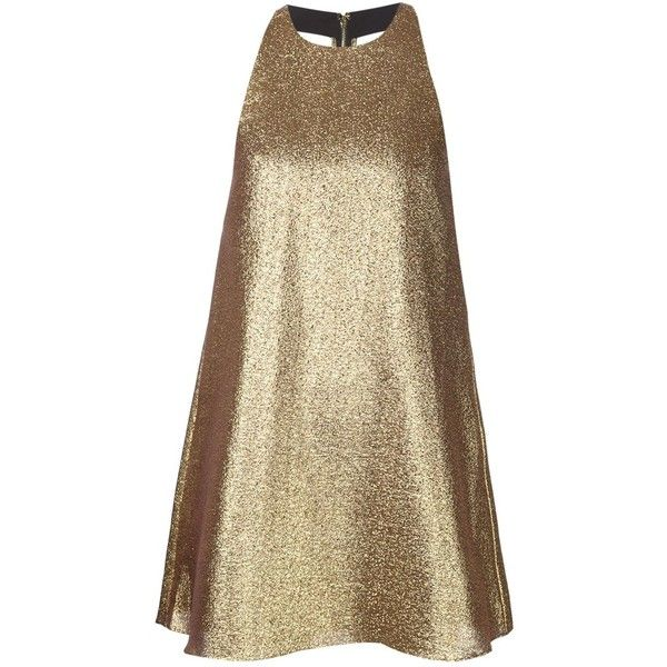 Alice+Olivia Backless Mini-Dress (21.780 RUB) ❤ liked on Polyvore featuring dresses, brown dress, short dresses, short backless dresses, gold mini dress e mini dress