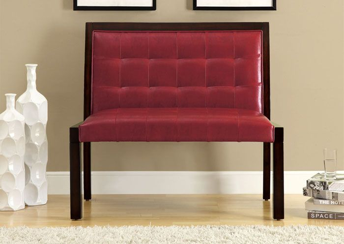 banc en similicuir rouge / red leather-look bench
