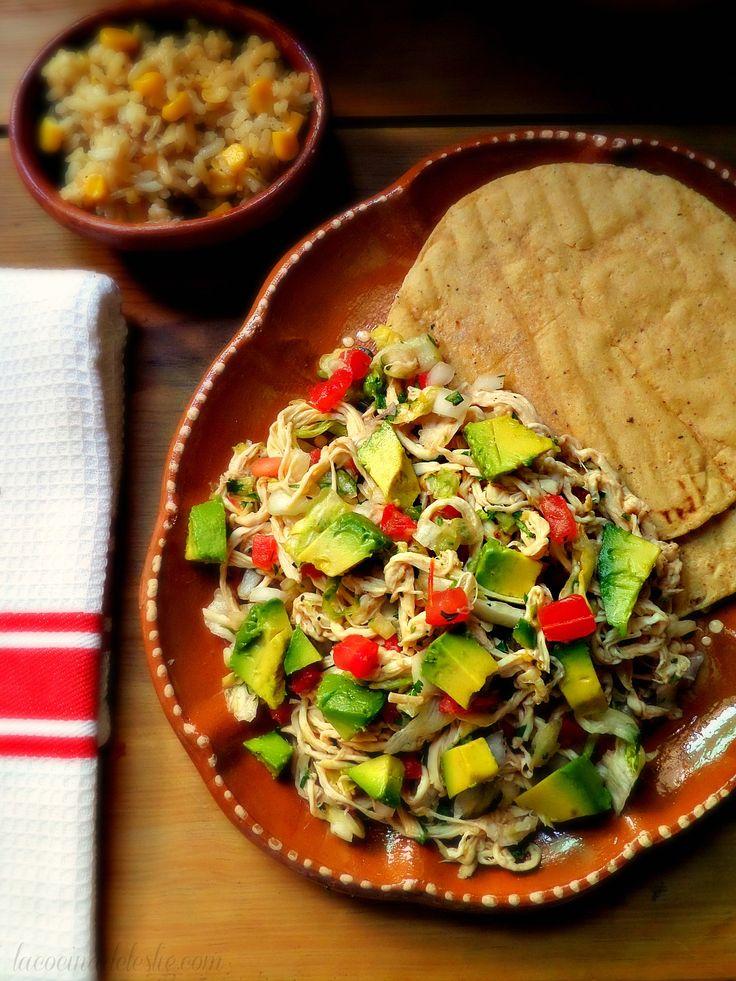 Salpicón de Pollo - Refreshing Mexican chicken salad seasoned with cilantro, serrano chiles, lime juice, onion, tomato, and avocado.