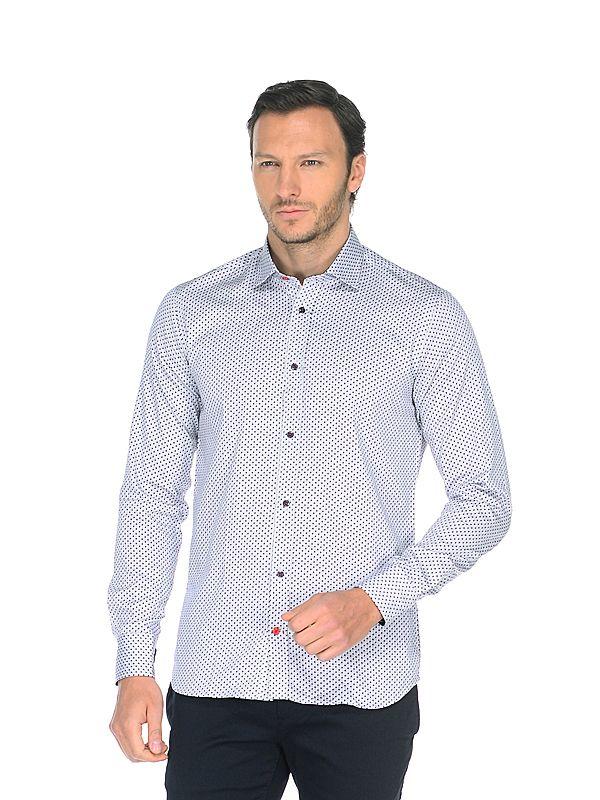 Серая приталенная мужская рубашка Louis Fabel 1155-24 в синий горошек с длинными рукавами