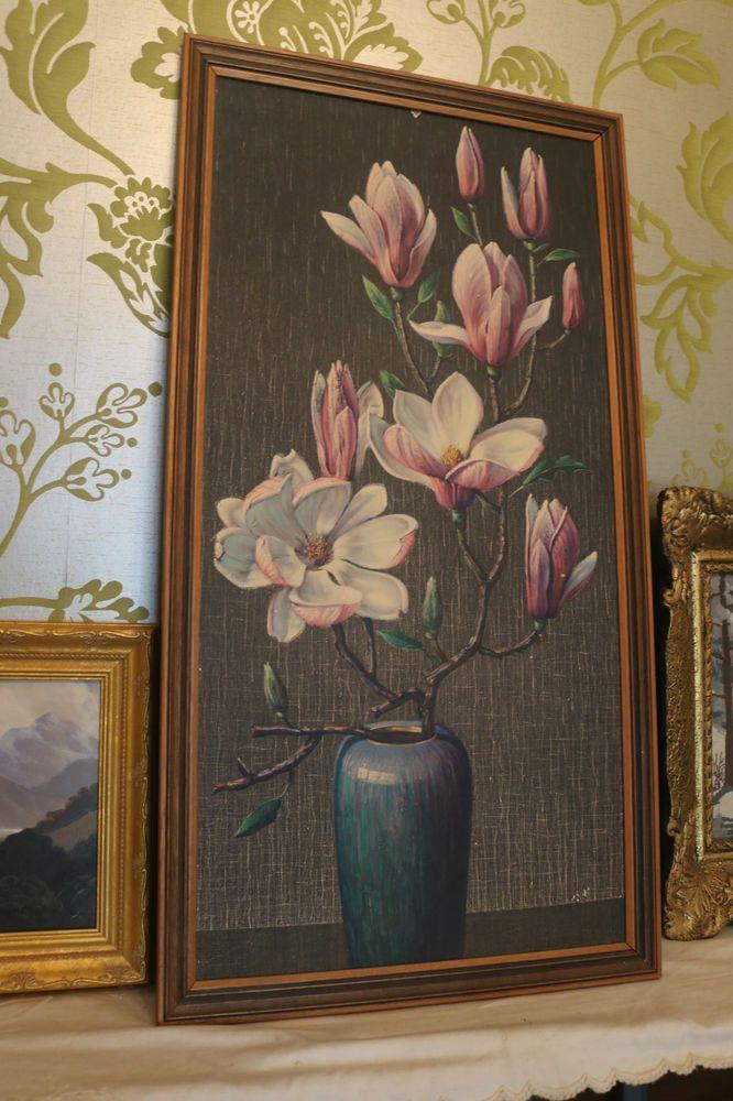 Vintage Retro Framed Print  Pink Magnolias Tretchikoff  Featherston Era