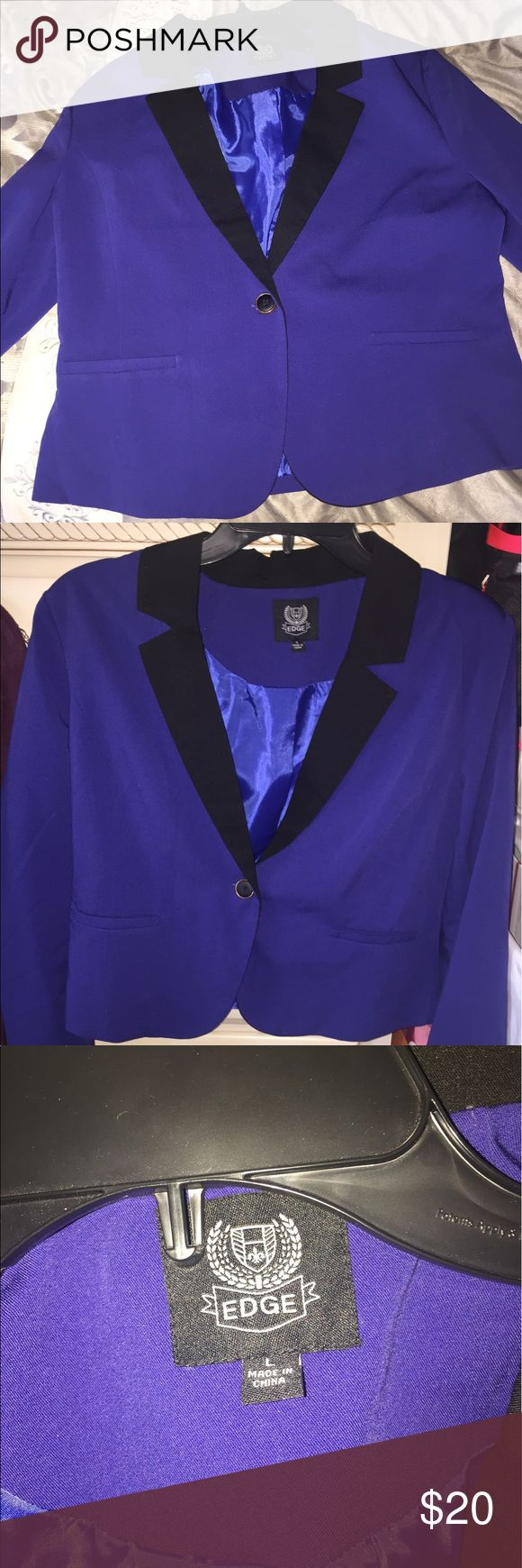 ROYAL BLUE BLAZER EXCELLENT CONDITION WORE ONCE Royal blue blazer with black edging, excellent condition, wore once Fashion Nova Jackets & Coats Blazers