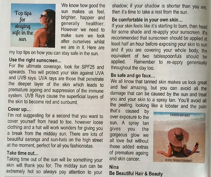 My latest Staying Safe in the Sun #editorial for the Yateley Town Crier Magazine x