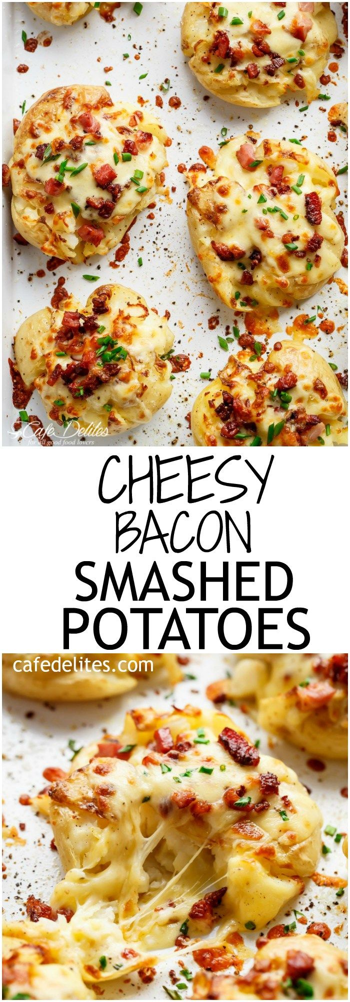 Crispy and Loaded Cheesy Bacon Smashed Potatoes with Chives and an Avocado Crema!   http://cafedelites.com