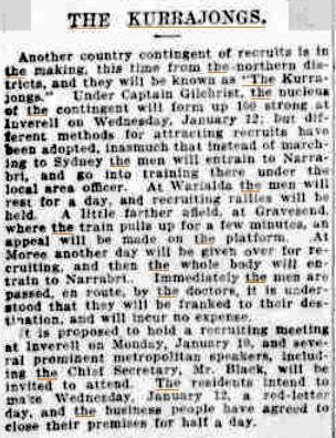Newspaper article from the Sydney Morning Herald, Thursday 6 January 1916 page 8. Courtesy Trove Newspapers NLA