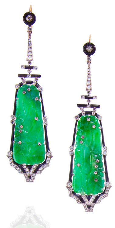 A pair of jadeite jade, enamel and diamond pendant earrings, designed with jadeite plaques carved as fruiting vines with gourds, highlighted...