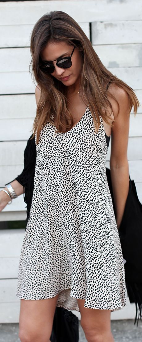 Zara Black And White Spotted Loose Mini Shift Dress   / Lady Addict