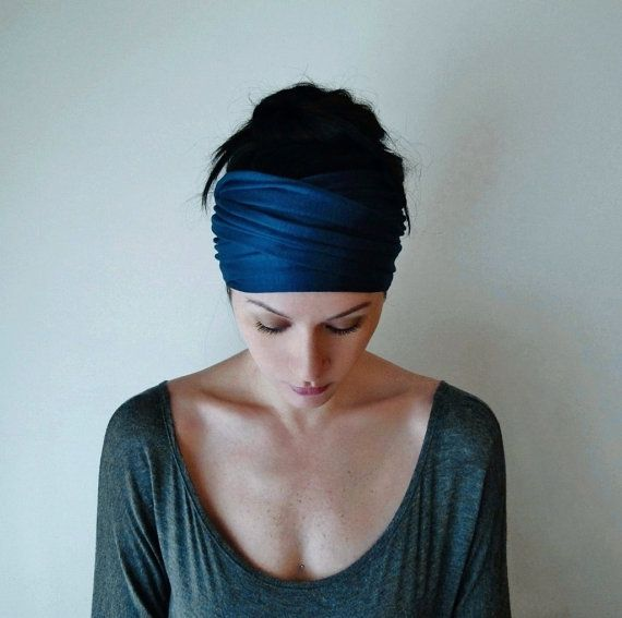 PEACOCK BLUE Head Scarf  Bohemian Hair Wrap  Dark Teal by EcoShag