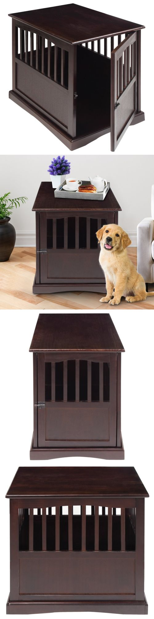 Animals Dog: Dog Kennel Wood Bed Small Crate Oversized Pet Cage Wooden Furniture End Table BUY IT NOW ONLY: $91.52
