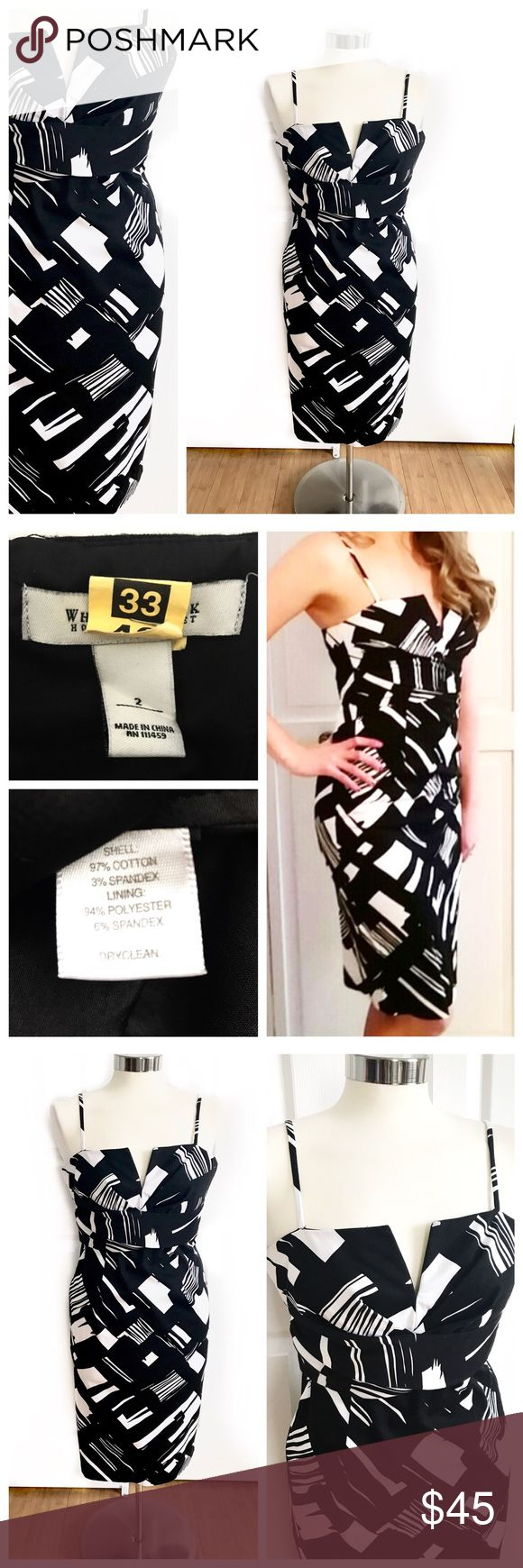 White House Black Market WHBM Black & White Dress WHBM spaghetti strap dress. Black and white print. Straps are adjustable. V neck dip. Wire in the v that keeps it in place. Really flattering. Slit in back. Fitted. Chest is lined in black. Stretch to fabric. 97% cotton 3% spandex. Worn twice. Drycleaned. Great to wear to a wedding, graduation, bridal shower, bachelorette party, engagement party! Love the white for brides! White House Black Market size 2. White House Black Market Dresses