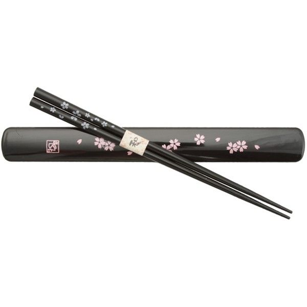 Dogwood Blossoms Chopsticks Box Set Black ($11) ❤ liked on Polyvore featuring home, kitchen & dining, flatware, black flatware, black silverware and black chopsticks