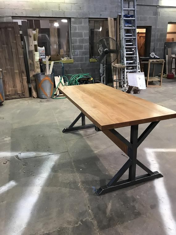 6ft Long Custom Beautiful Cherry Wood Desk With Steel Base Cherry Wood Desk Wood Desk Solid Wood Table Tops