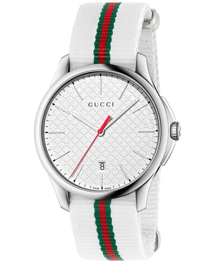 Gucci's G-Timeless collection offers a timepiece of exquisite taste, featuring a diamond patterned dial and a strong nylon strap. | White & green-red-green web nylon strap | Round polished stainless s