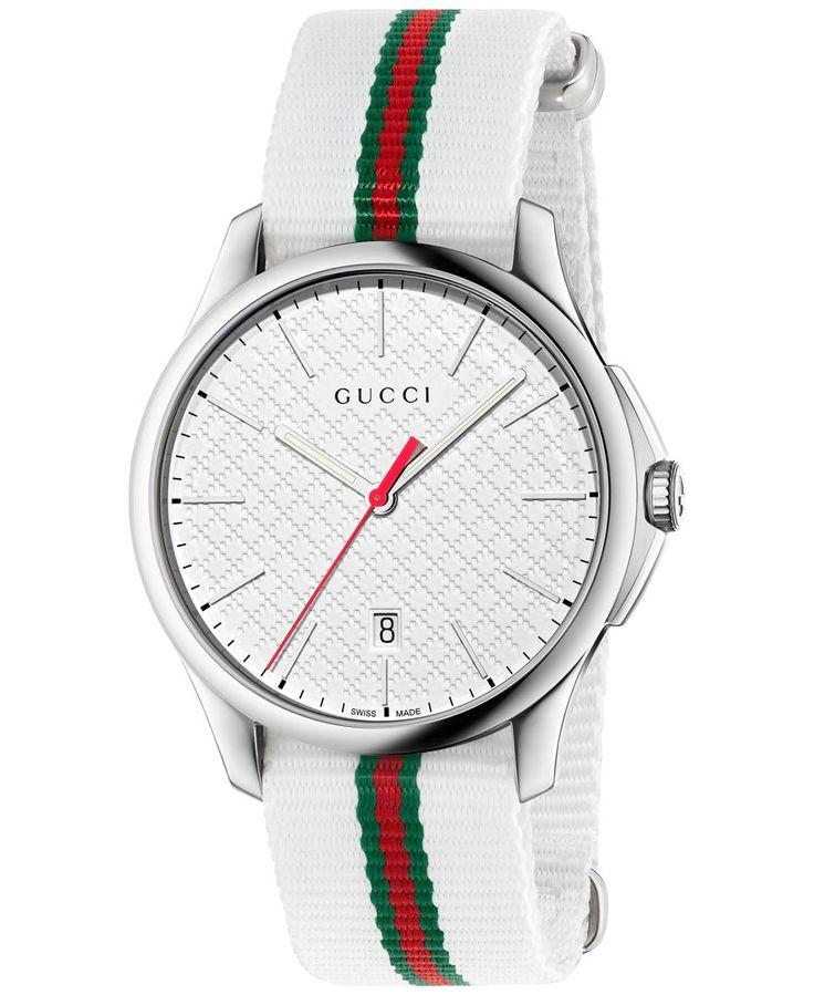 Gucci Men's Swiss G-Timeless White & Green-Red-Green Web Nylon Strap Watch 40mm YA126322