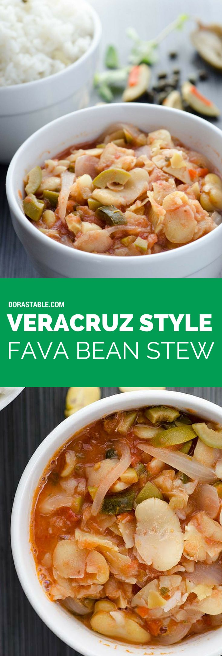 Veracruz-Style Fava Bean Stew, fava beans braised in onion, garlic, tomato, olives, capers, and pickled jalapeños. It is spicy and comforting. Vegan and Gluten-free