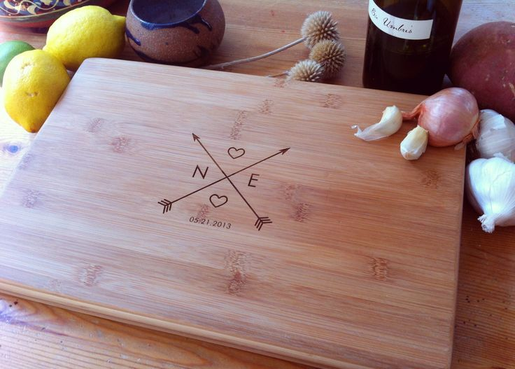 Crossing Arrows Custom Engraved Cutting Board / Personalized Chopping Block