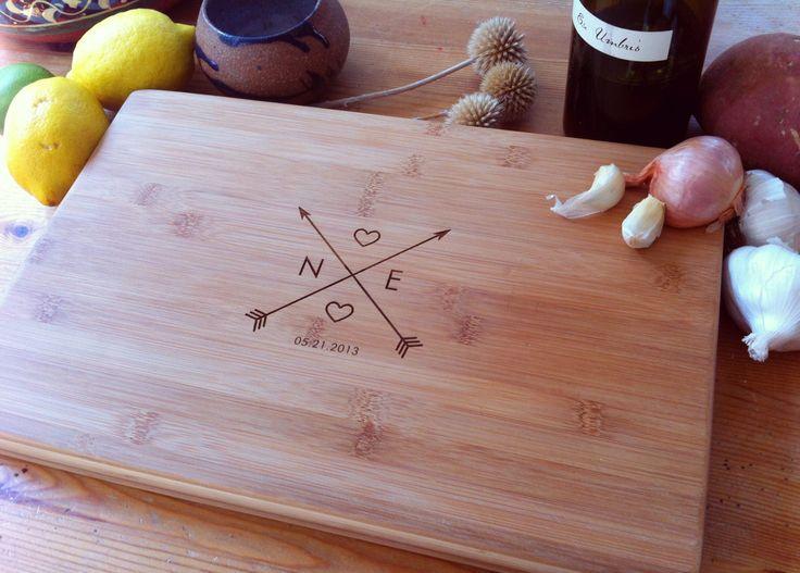 Crossing Arrows Custom Engraved Cutting Board / Personalized Chopping Block
