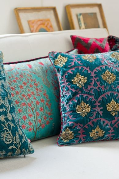 FERGANA, RAYA SILK VELVET CUSHION  The #Fergana cushion collection has exquisite velvets & silks, ranging from stunning jewel-like embroideries to our signature digital graphics capturing nuances of the #SilkRoute. The Raya cushion is a timeless, sumptuous cushion embroidered with antique gold pomegranates & patterned with highlights of madder rose against a teal silk velvet. Shop the cushion on our #WebBoutique . #Fergana #Samarqand