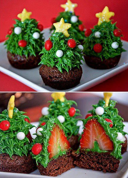 Such a cute idea! Delicious trees: start with a mini brownie, muffin or cupcake, frost lightly with green frosting, place a cleaned strawberry upside down into the frosting to secure it.  Then, frost the strawberry as shown (use cake decorator tip if you have one) and decorate your trees!   Que lindos!!!!!!!!!