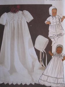 SeeSallySew.com - Christening Gown Infants Dress Jumpsuit Hat Butterick 4052 Sewing Pattern, $9.99 (http://stores.seesallysew.com/christening-gown-infants-dress-jumpsuit-hat-butterick-4052-sewing-pattern/)