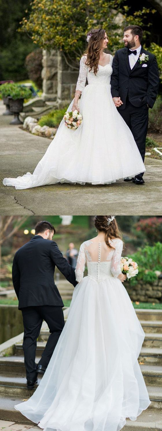 3 4 sleeve lace wedding dress  Aline  Sleeves Lace Wedding Dresses With Sweep Train Bridal