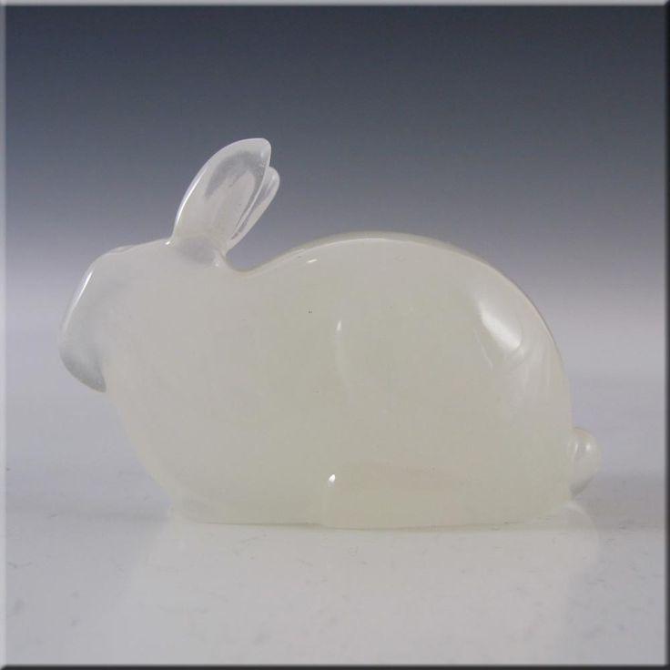 Hadeland Opaline Glass Rabbit Paperweight - Marked - £20.00