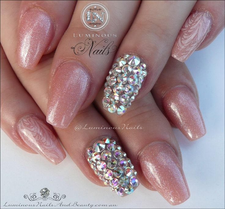 Crystal Gel Nail Video: Shimery Nude Nails With Swarovski Crystals