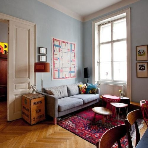 Red Rug + Grey Couch + Wood. Grey RugsApartment TherapyApartment ...
