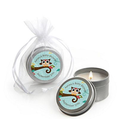 Owl - Look Whooo's Having A Baby - Candle Tin Personalized Baby Shower Favors - BabyShowerStuff.com