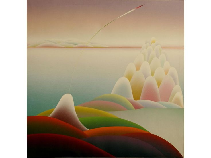 Abstract Geometric Landscape, oil on canvas