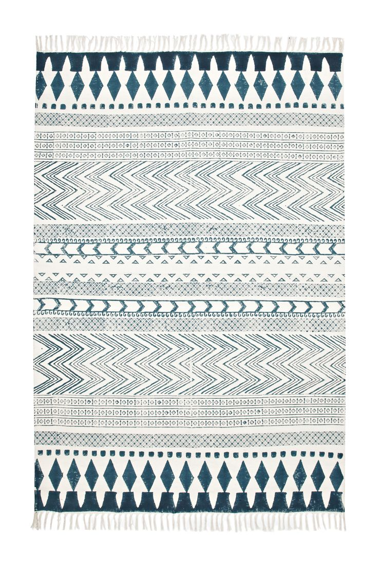 French Connection - Zig-zag and striped print rug, Tassels at both ends