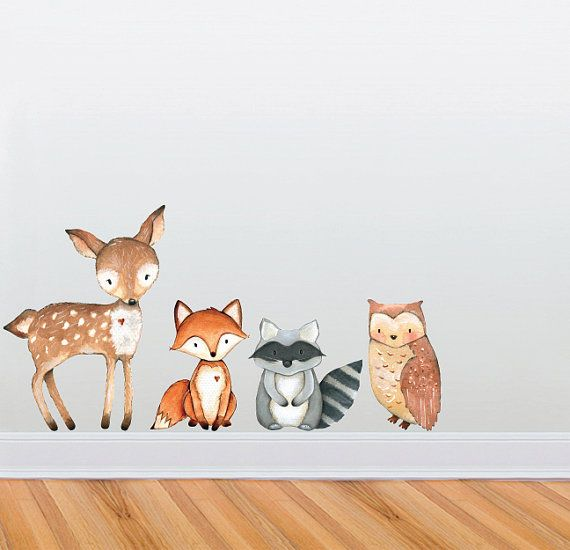 Woodland Themed Cute Creature Wall Decal by WilsonGraphics on Etsy