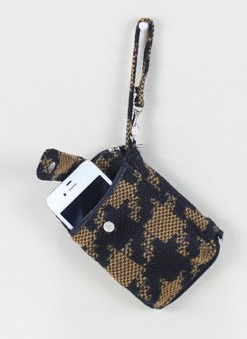Brown & Black Houndstooth Fabric Cell Phone Holder & Wallet