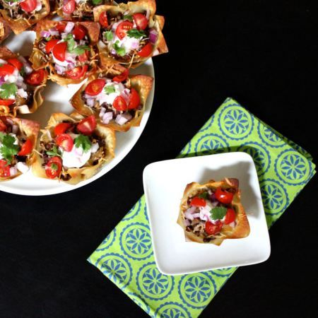 Double Decker Taco Cupcakes - Easy with ground beef, taco seasoning, wonton wrappers, refried beans and tortilla chips, and mexican cheese - optional toppings, salsa, sour cream etc.
