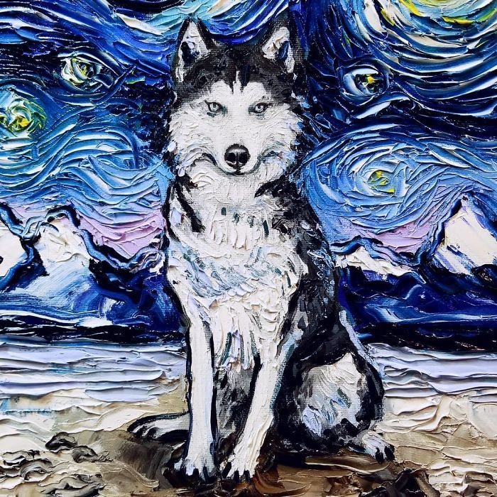 Van Gogh Starry Night Reimagined Dogs Paintings Aja Trier Golden