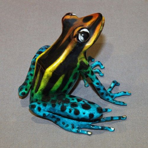"""Gorgeous Color """"Darcy Frog"""" BRONZE FROG Statue Figurine Amphibian Art by  Barry Stein"""