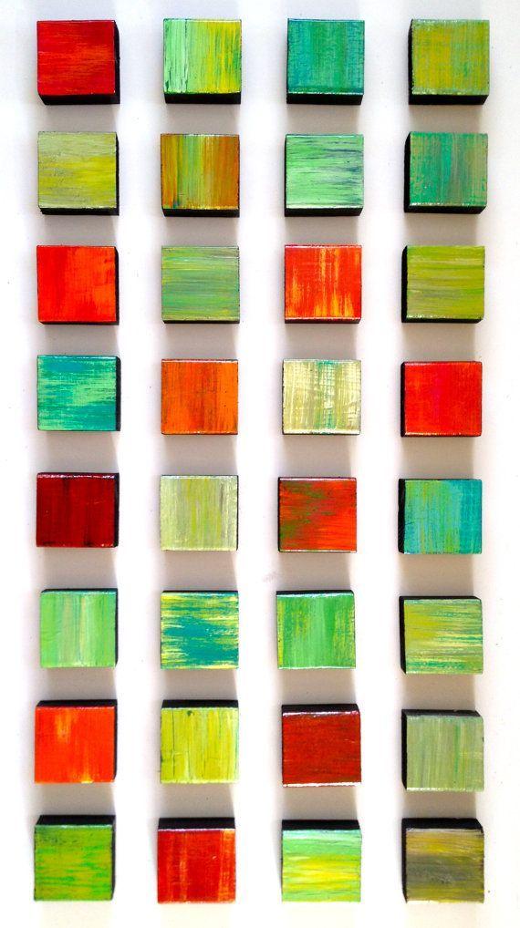Large Painted Wood Wall Sculpture Rhapsody by ROSEMARYPIERCEMODERNART.COM (Rosemary Pierce Modern Art) | small wooden boxes | pastel | modern wall sculpture | red green | yellow