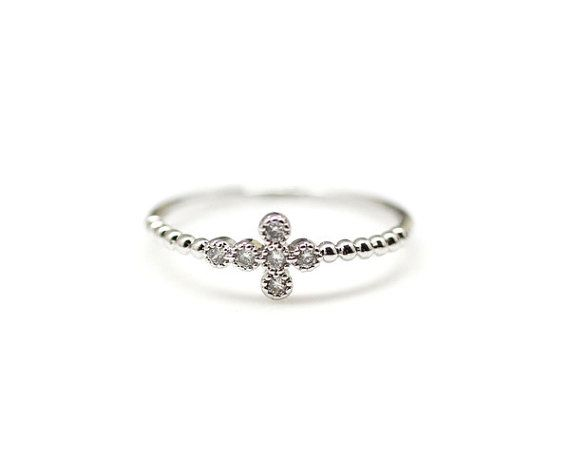 Tiny Sideways Cross Ring. This is the PERFECT purity ring