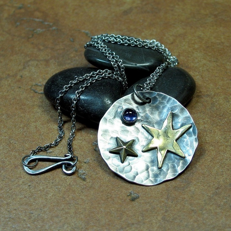 Sterling Silver Pendant with Brass Stars and Iolite - Wish Upon a Star    ...from Lavender Cottage on Etsy: Dish Display, Etsy, Fine Jewellery, Dishes Display, Brass Stars, 4Th Of July, Lavender Cottages, Sterling Silver Pendants, Stars Pendants
