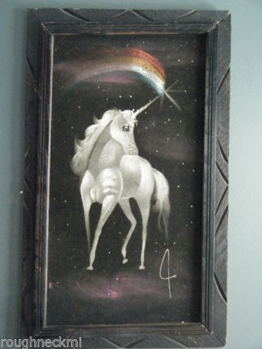 Vintage 1970s Black Velvet Painting Unicorn Pegasus
