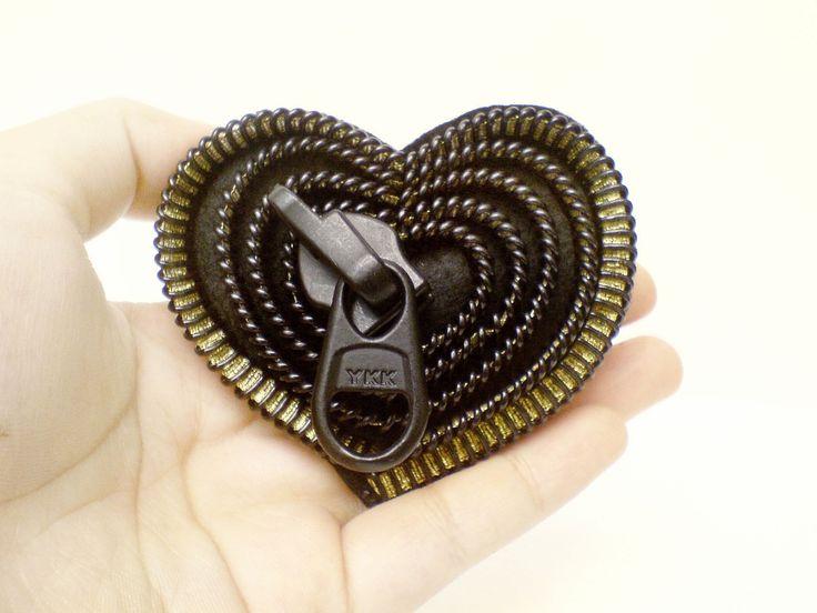 Heart brooches zipper jewelry