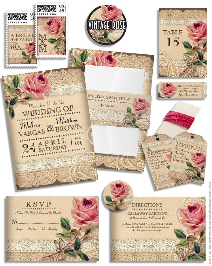 Delightful Vintage Rose Wedding Invitations